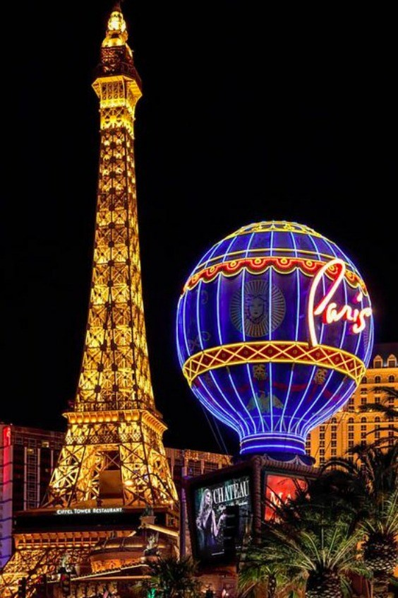 Paris Hotel at Night Las Vegas